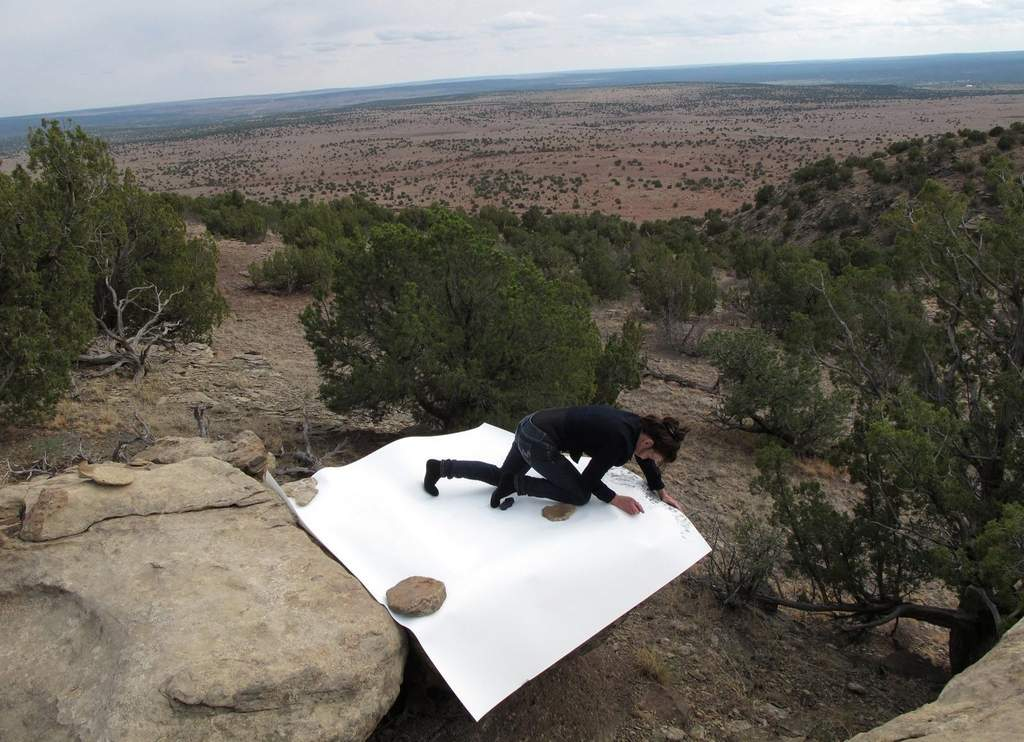 "Jill O'Bryan at work on one of her ""Rock Drawings"" for her Gallery Joe exhibition."