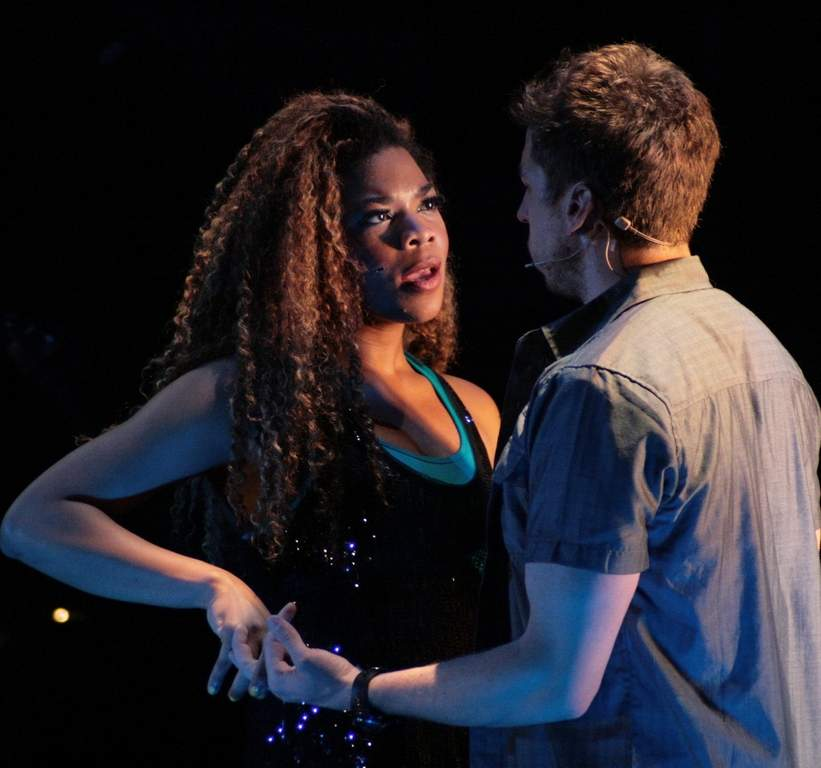 "Brit West and Mark Willis Borum as Mimi and Roger in Bristol Riverside Theatre's production of ""Rent."""