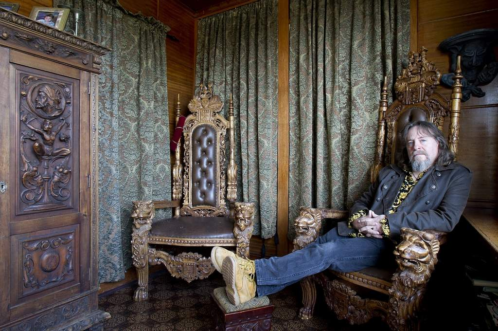 Mike Walzer is posing for photo sitting a gothic chair in sun room.    (AKIRA SUWA / Staff Photographer )