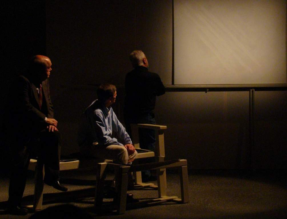 Hedgerow Theatre´s version of the Yasmina Reza comedy; Art; stars (from left) Zoran Kovcic, Leonard C. Haas, and Tom Teti.