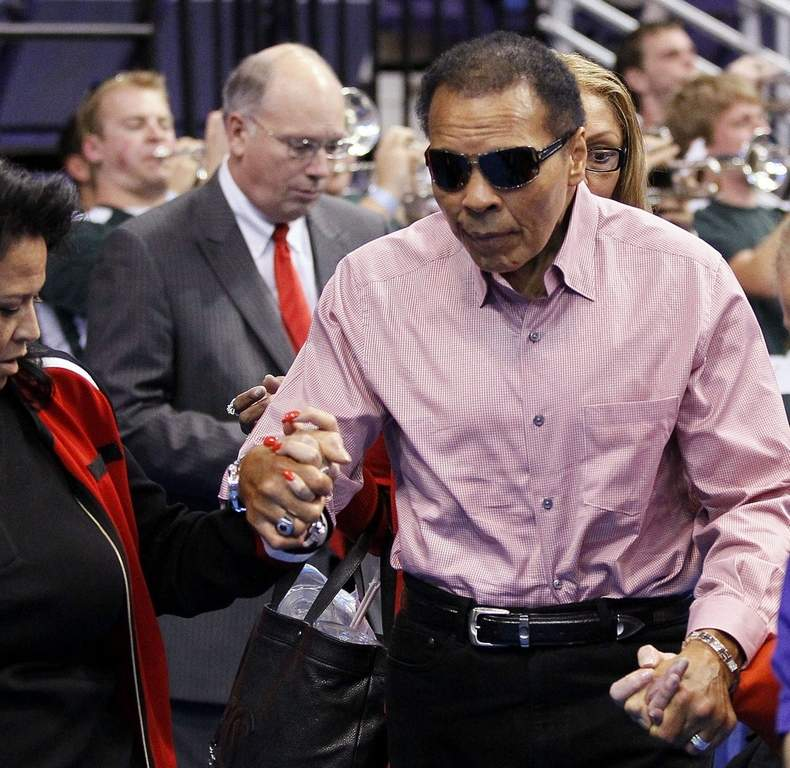 Muhammad Ali, pictured at a basketball game in March in Phoenix, was in Philadelphia in April to attend his grandson&amp;rsquo;s bar mitzvah.<br /><br /><br /><br />ASSOCIATED PRESS