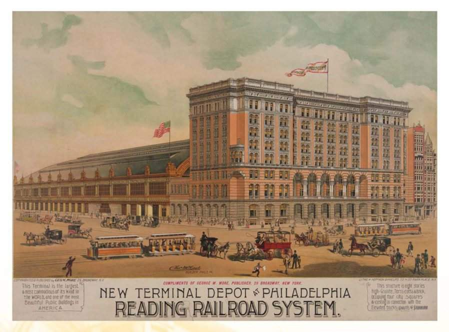 Historical postcard of Reading Terminal from an exhibit at Reading Terminal Market.<br /><br />Philadelphia History Museum at the Atwater Kent