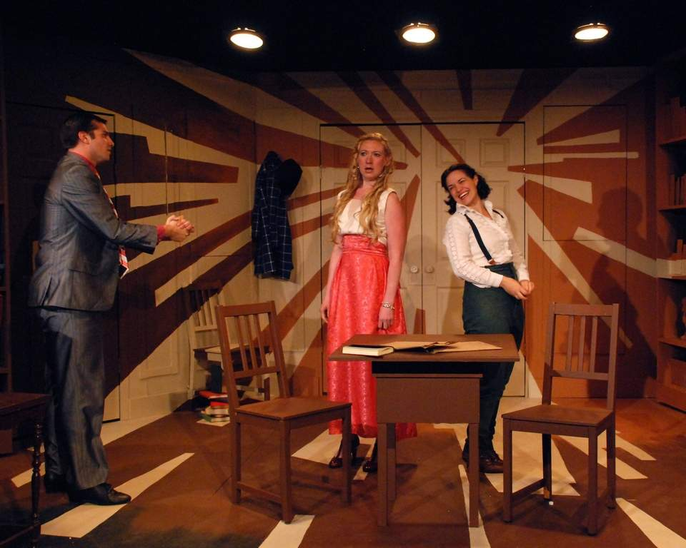"In ""Travesties,"" Eric Wunsch is Tristan Tzara, Kaki Burns is Gwendolyn, and Kristen Norine is Cecily (right). JOHN DONGES"