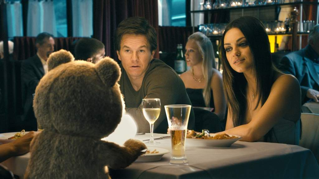 Mark Wahlberg (center) with his girlfriend Mila Kunis (right) and ... Ted.