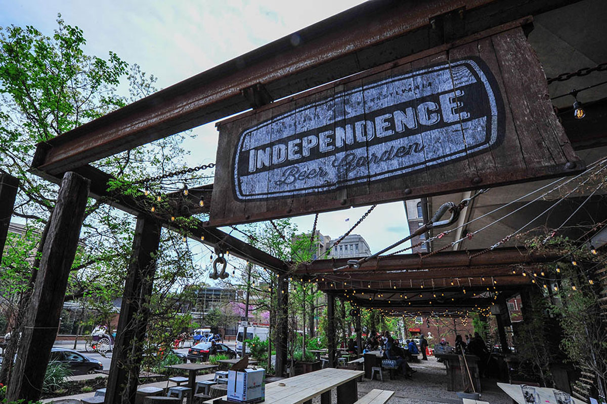 Independence Beer Garden, 100 S Independence Mall West (Sixth Street south of Market).
