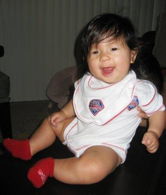 My daughter Audrina Mei Martinez. 6 months old, decked out in Phillies gear enjoying the Phillies'  World Championship in October 2008!!