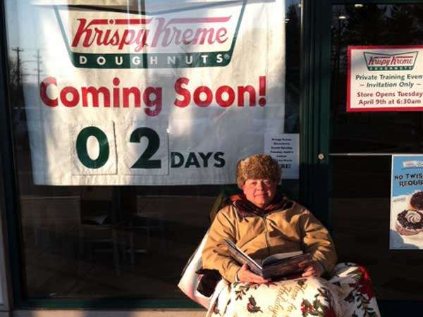 Timothy Folkomer outside the Springfield, Pa., Krispy Kreme.