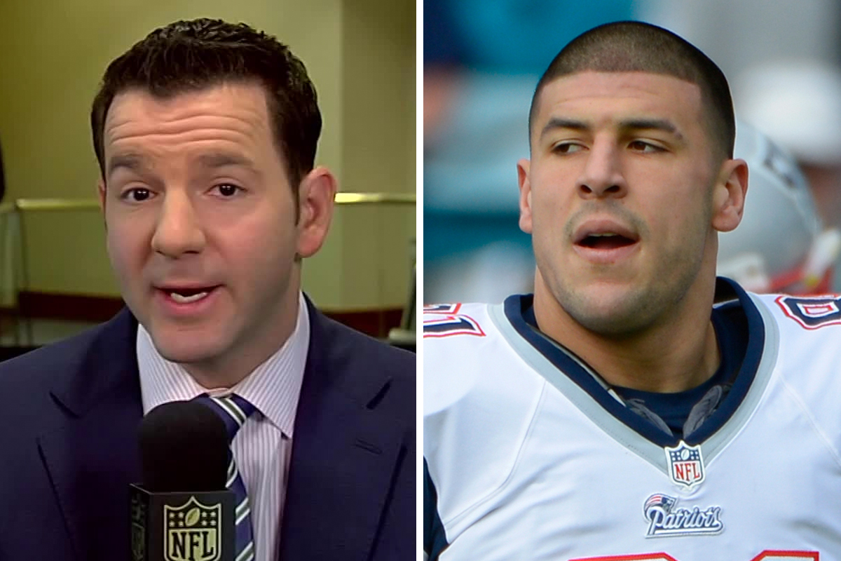 While the Patriots beat reporter for the Boston Herald, Ian Rapoport (left) recalls having a chilling conversation with former Patriots tight end Aaron Hernandez.