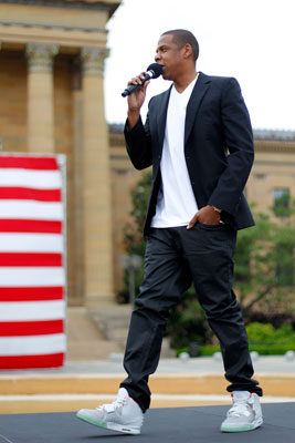 Naturally, Jay has a pair of the Yeezy 2´s which he wore to a May 14 presser at the Art Museum. (AP Photo/Matt Rourke)