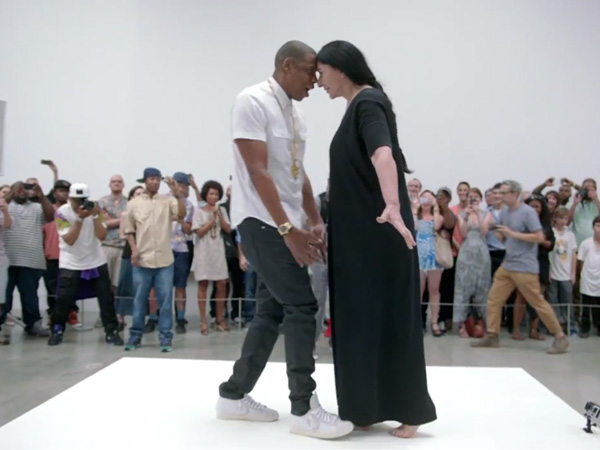 "Rapper Jay Z with performance artist Marina Abramović during the ""Picasso Baby"" video shoot."