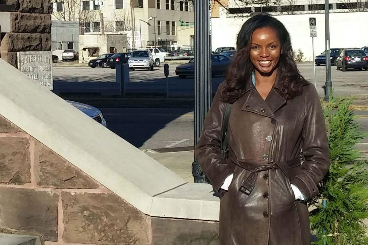 Columnist Jenice Armstrong at 16th Street Baptist Church in Birmingham, Ala.