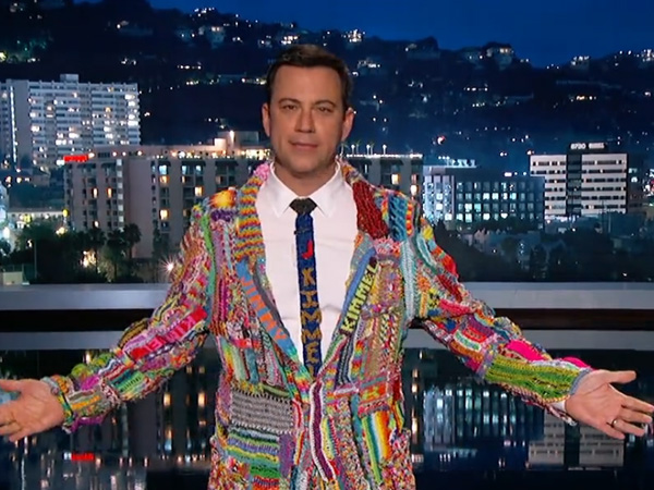 Jimmy Kimmel dons his rainbow loom suit. (Screenshot)
