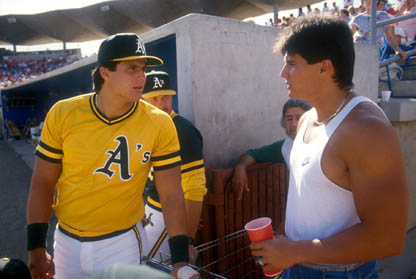 Jose (left) and Ozzie Canseco in 1989