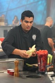 "Garces working with melon on ""Iron Chef America."""