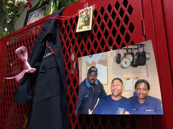 Joyce Craig-Lewis´ locker. From left, Lt. Benny Hutchins, Lt. Steven Giles and Craig-Lewis the day Giles got promoted this year.