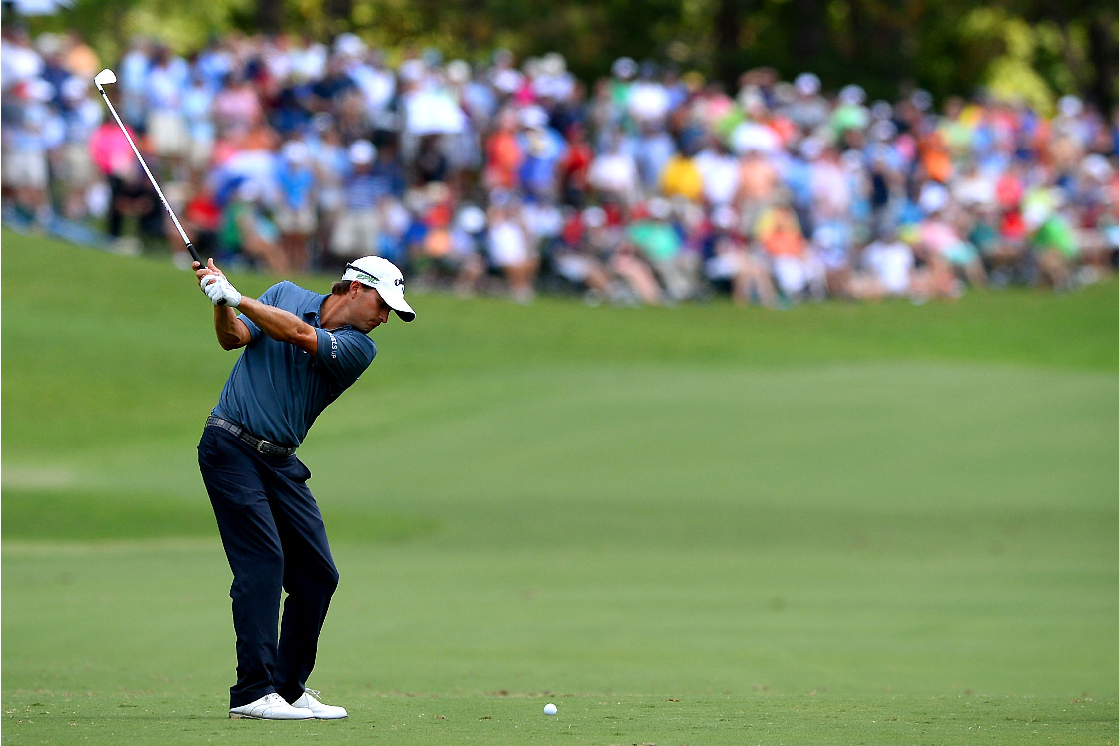 Kevin Kisner prepares to hit his second shot from the 7th fairway in the third round of the PGA Championship at Quail Hollow Club in Charlotte, N.C., on Saturday, Aug. 12, 2017.