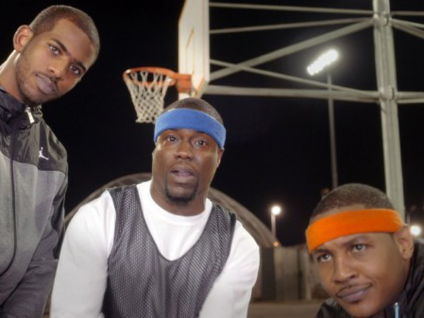 Chris Paul and Carmelo Anthony flank Philly´s favorite power forward, Kevin Hart.