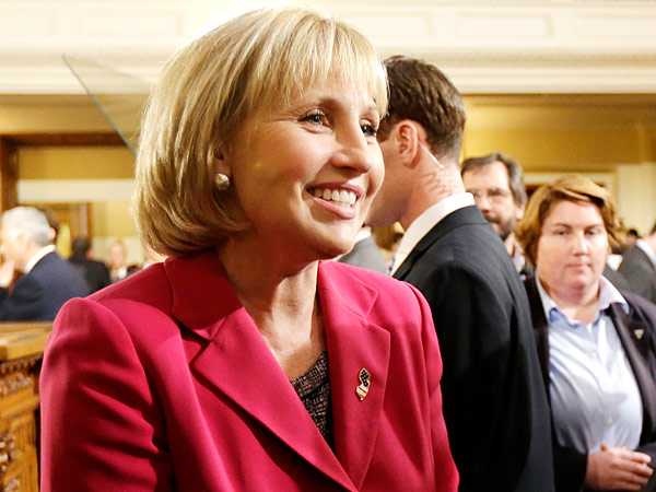 New Jersey Lt. Gov. Kim Guadagno  arrives at the Statehouse for Gov. Chris Christie State Of The State address, Tuesday, Jan. 14, 2014, in Trenton, N.J. (AP Photo/Julio Cortez)