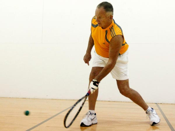 Peter Wright, 65, plays racquetball Friday, June 13, 2014 at Telos Fitness in Dallas. Despite 13 knee surgeries, Wright is a champion racquetball player and frequently works out at Telos Fitness. (Mona Reeder/The Dallas Morning News/MCT)