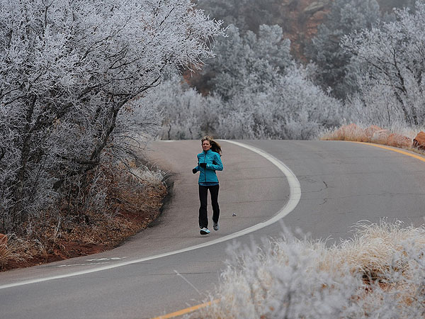 Dagmar Knudsen runs in Garden of the Gods in Colorado Springs, Colo., on Dec. 20, 2013. Knudsen has run marathons in all 50 states. (Christian Murdock/Colorado Springs Gazette/MCT)