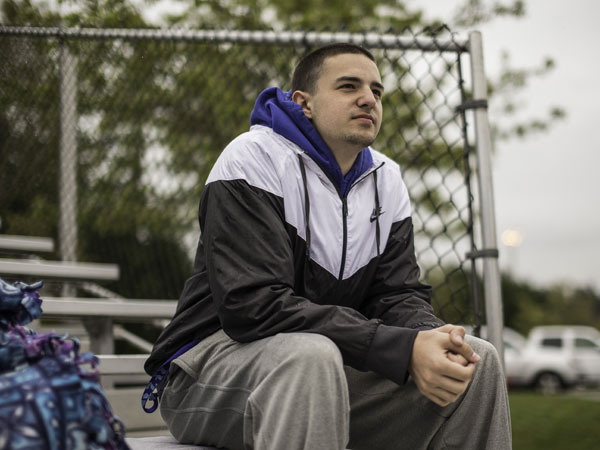 Kellen Webster is currently on the sidelines at Bothell High, bothered by a back injury, and a fear of reoccurring outbursts of his Tourette´s at its worst. (Dean Rutz/Seattle Times/MCT)