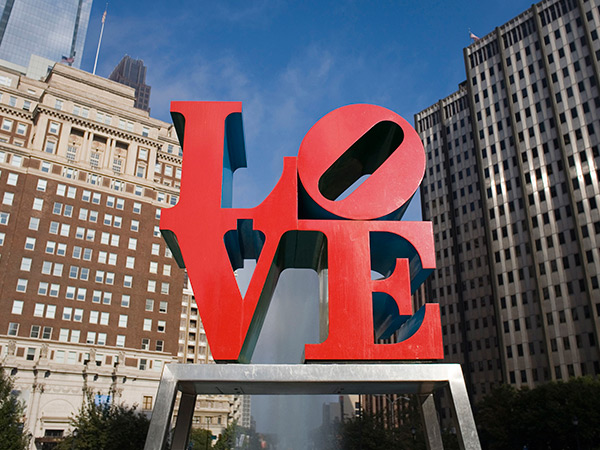 """The Great Tour"" will include stops all over the city, including Love Park, during the 12-hour free walking tour. People are permitted to leave and re-join the tour throughout the day. (AP Photo/Matt Rourke)"