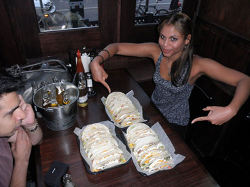 Lisel Parillon before her first taco challenge at Drinker´s West.
