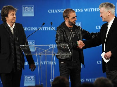 From left, musician Paul McCartney, musician Ringo Starr and film director David Lynch participate in press conference to promote the ´Change Begins Within´ benefit concert for the David Lynch Foundation and to support an initiative to teach one million at-risk youth to meditate, Friday, April 3, 2009 in New York. (AP Photo/Evan Agostini)