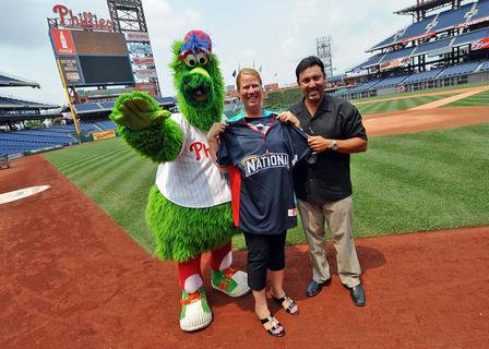 Marci Schankweiler with the Phillie Phanatic and Phillies GM Ruben Amaro, Jr.