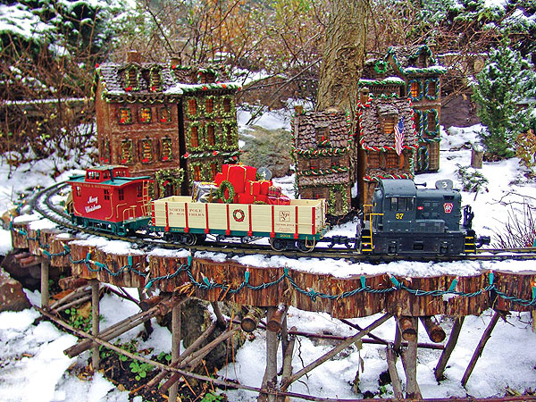 The Holiday Garden Railway at Morris Arboretum.