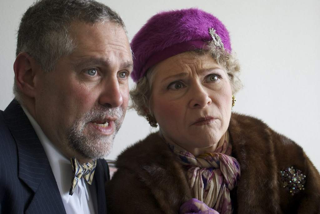 """Souvenir,"" set in the 1940s, stars April Woodall as the true-life, fantastically off-pitch Florence Foster Jenkins and Jeffrey Lesser as Cosme McMoon, her accompanist and protector for 12 years."