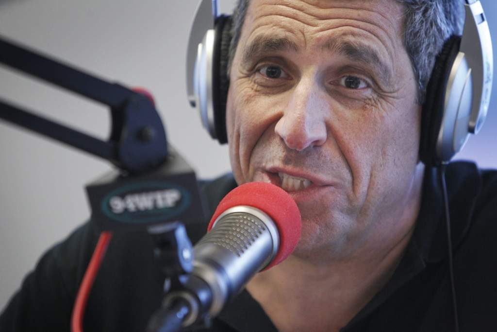 Picture of host Angelo Cataldi. Angelo Cataldi, Al Morganti and Rhea Hughes the morning crew with 94 WIP Sportradio as seen on Tuesday morning May 8, 2012. ( ALEJANDRO A. ALVAREZ / STAFF PHOTOGRAPHER )