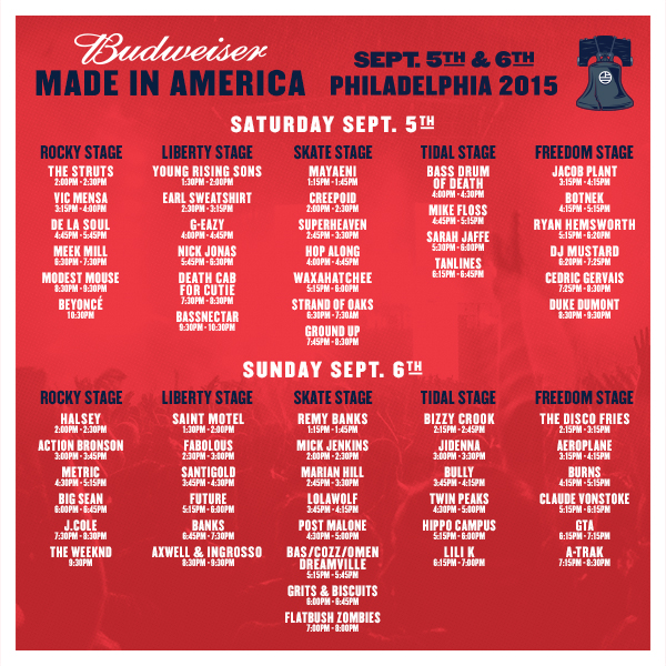 Made in america schedule and set times announced for Rtu time table 4 th sem 2015