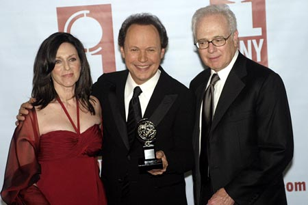 Larry Magid (right) with Janice and Billy Crystal at the 2005 Tony Awards