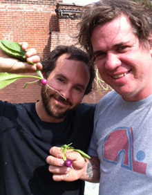 Marathon´s Cary Borish and  farm engineer Mike Parcel with the early crops.