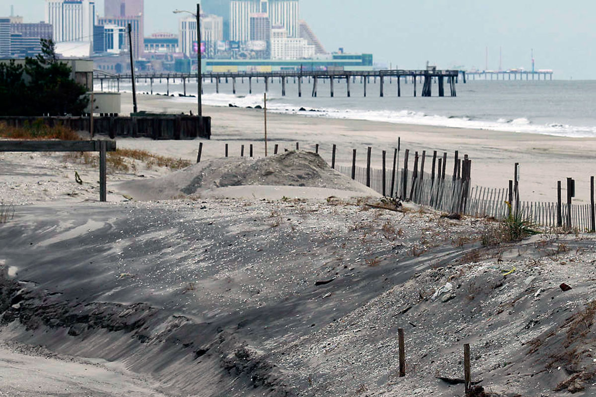 On the beachfront at Margate, looking toward Atlantic City.