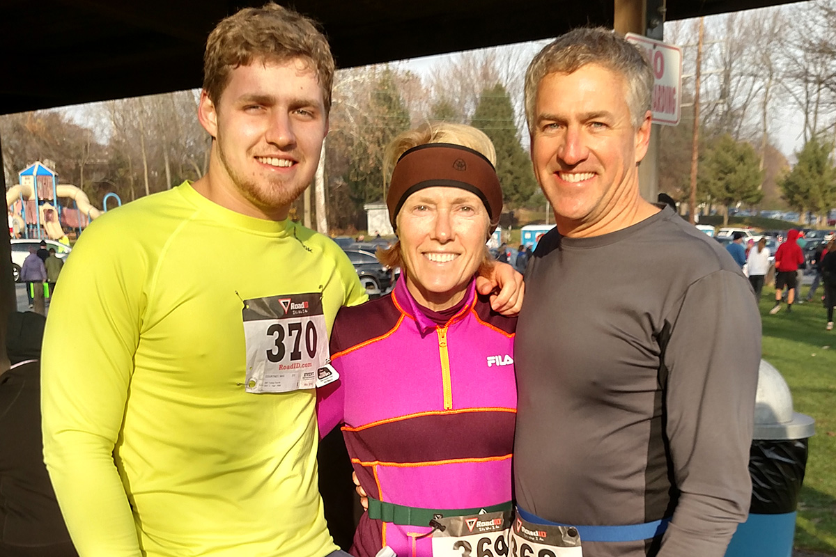 Max Courtney, left, with his parents, Andrew and Brenda, at the 2016 SMT Turkey Trot 5k in New Cumberland, Pa.