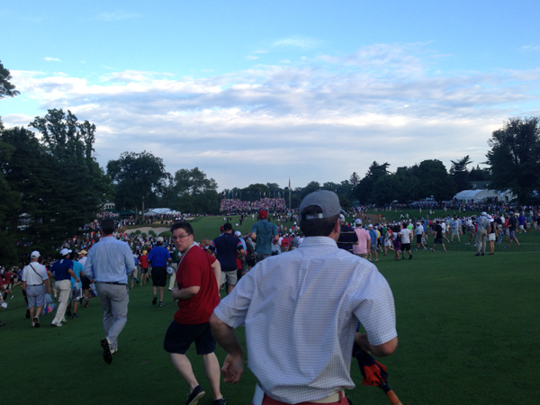 The mad dash down the 18th fairway on Sunday, June 16, 2013, was all to see if Phil Mickelson could chip in from just off the green and force a Monday playoff. He could not. But it was a great ending to a long week. (Brian X. McCrone / Staff)