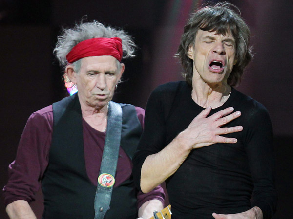 FILE - In this Dec. 12, 2012 file image released by Starpix, Keith Richards, left, and Mick Jagger of The Rolling Stones perform at 12-12-12 The Concert for Sandy Relief at Madison Square Garden in New York. (AP Photo/Starpix, Dave Allocca, file)