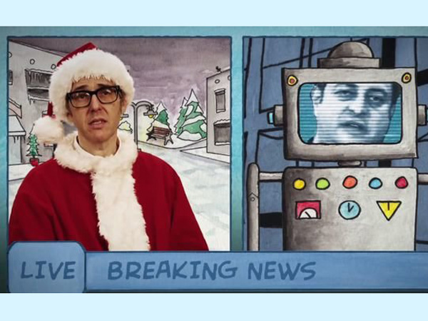 "Ira Glass and Eugen Mirman in a screen shot from the""Toymageddon"" video."