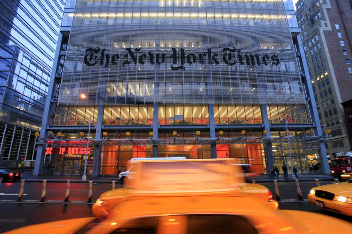 The New York Times headquarters is shown in New York City.
