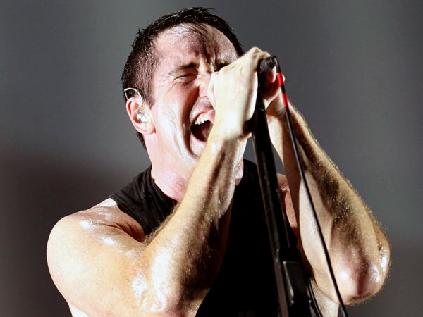 Trent Reznor of Nine Inch Nails performs on the Rocky Stage during the Budweiser Made In America 2013 along the Benjamin Franklin Parkway on Sunday, September 1, 2013. (Yong Kim/Staff Photographer)