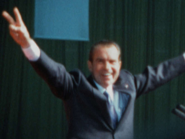 President Nixon at a large 1972 rally, a few days before his historic landslide reelection.Super 8 film still courtesy of Dipper Films <br />