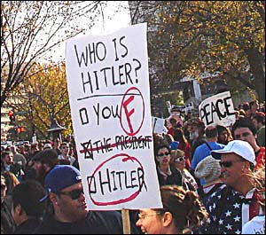 "Which point is more obvious for a ´Sanity´ rally, the well-designed Hitler definition, or the one word ´Peace""? Sometimes you had to think twice."