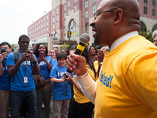 File photo: Mayor Nutter speaks to students before a march down Broad Street. More than 1,000 students from 70 high schools throughout the city march down Broad Street for a salute from Mayor Michael Nutter on June 6, 2013.  (ANDREW RENNEISEN/Staff Photographer)