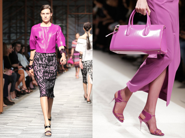 (LEFT) In this Sept. 22, 2013 file photo, a model wears a creation for Missoni women´s Spring-Summer 2014 collection, part of the Milan Fashion Week, unveiled in Milan, Italy. Orchid is growing on us: A version of the purple hue is Pantone Inc.'s color of the year for 2014. (AP Photo/Antonio Calanni, File) - (RIGHT) In this Sept. 19, 2013 file photo, a model wears a creation for Max Mara women´s Spring-Summer 2014 collection, part of the Milan Fashion Week, unveiled in Milan, Italy. Orchid is growing on us: A version of the purple hue is Pantone Inc.'s color of the year for 2014. AP Photo/Luca Bruno)