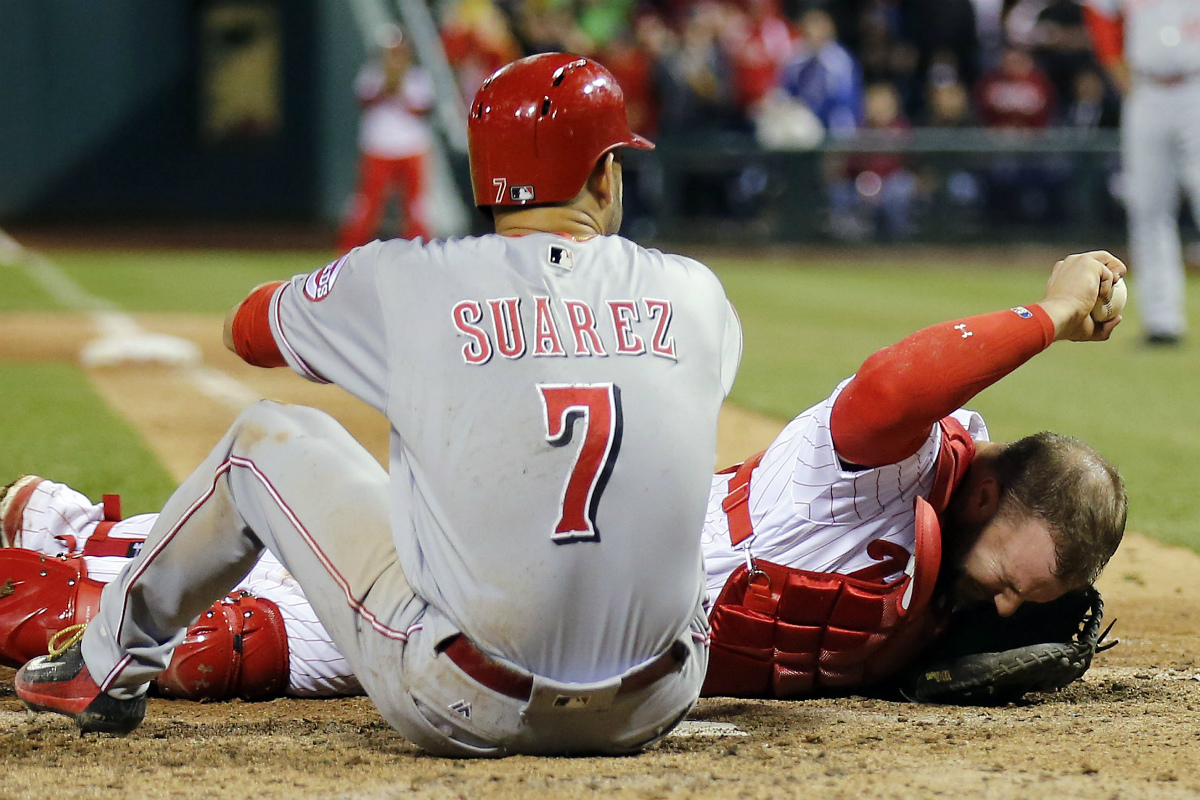 Phillies beat Reds; tying run thrown out at plate to end game
