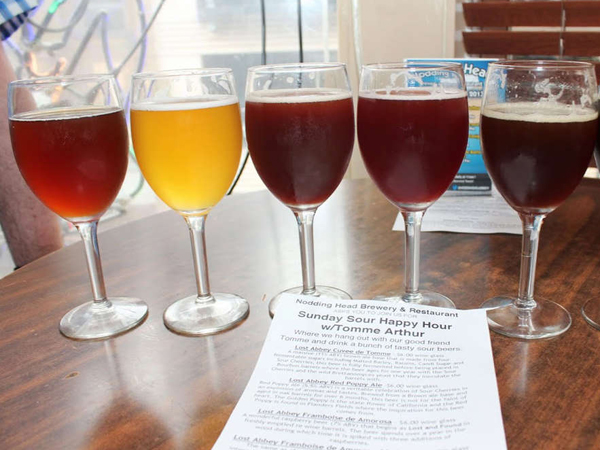 This lineup of beers was displayed during the Nodding Head Sunday Sour Happy Hour event during Philly Beer Week 2013.