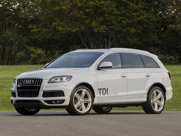 The 2014 Audi Q7 TDI, with its diesel engine, has the best mileage among the Q7 performance SUVs: 19 mpg city/28 highway. (Audi/MCT)
