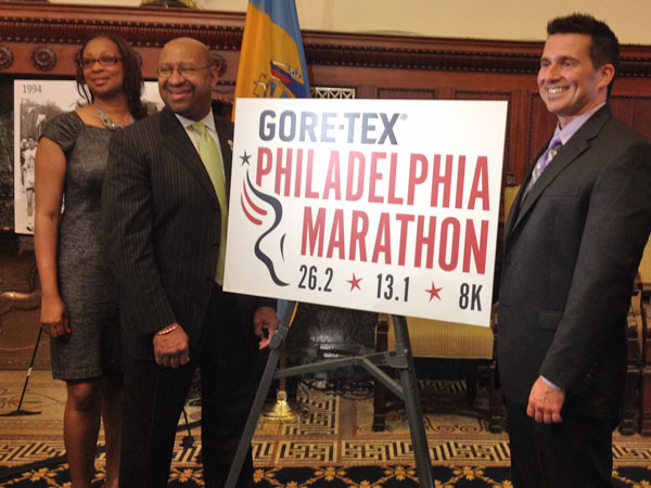 Executive Director of the race and City Representative Desiree Peterkin-Bell, Mayor Michael Nutter and Kirk Christensen, Global Leader of GORE-TEX Running Footwear.